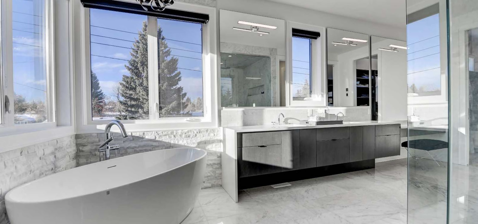 Ac glass and mirror frameless shower doors calgary custom mirrorsexpand your visible room size by installing planetlyrics Image collections